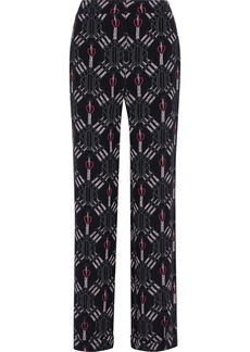 Valentino Woman Printed Silk-crepe Wide-leg Pants Black