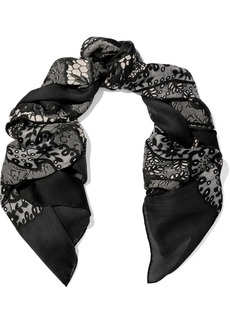 Valentino Woman Printed Silk-gauze Scarf Black