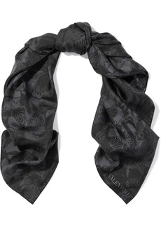 Valentino Woman Printed Silk-satin Twill Scarf Black