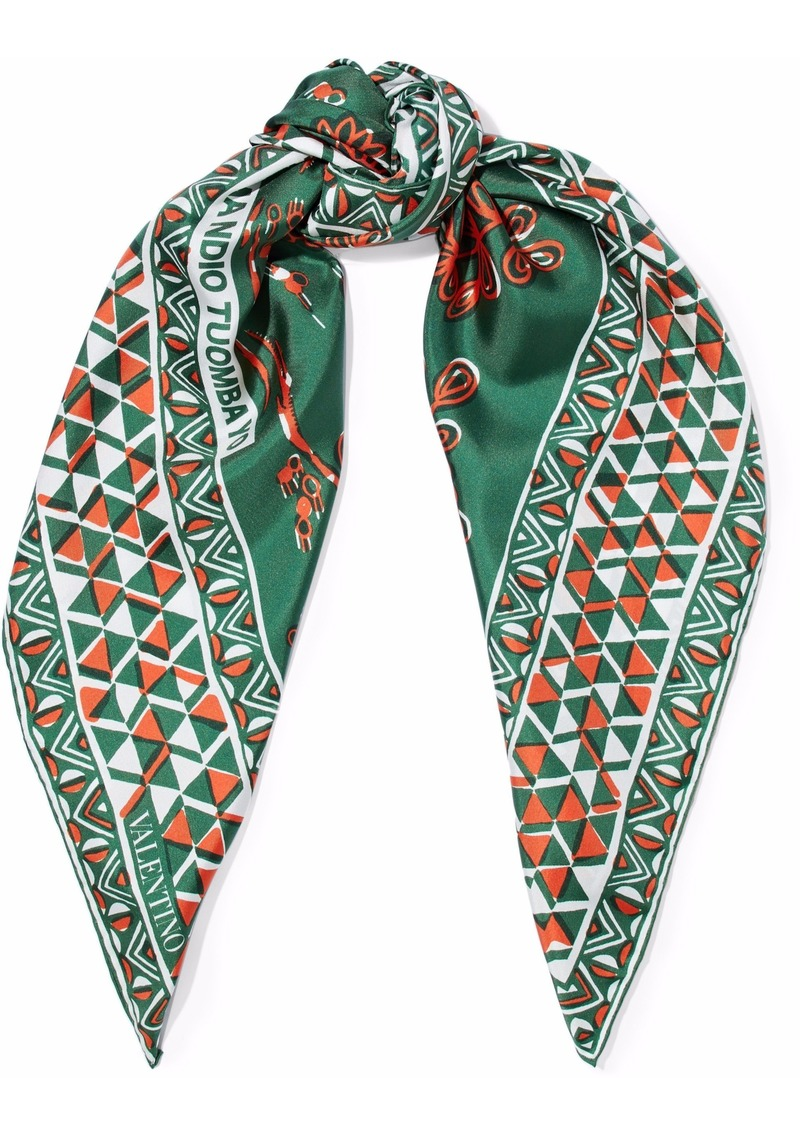 Valentino Woman Printed Silk-twill Scarf Army Green