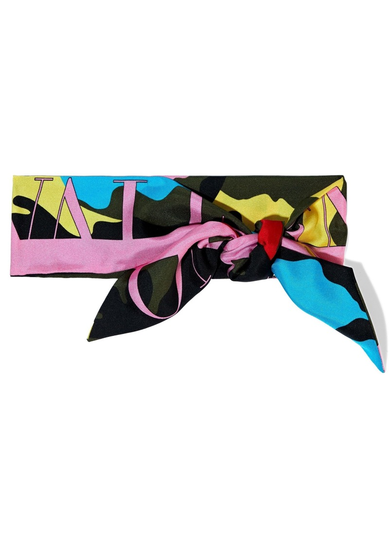 Valentino Woman Printed Silk-twill Scarf Multicolor