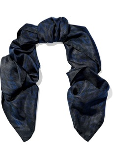 Valentino Woman Printed Silk-twill Scarf Navy