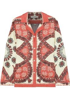 Valentino Woman Printed Silk-twill Shirt Papaya