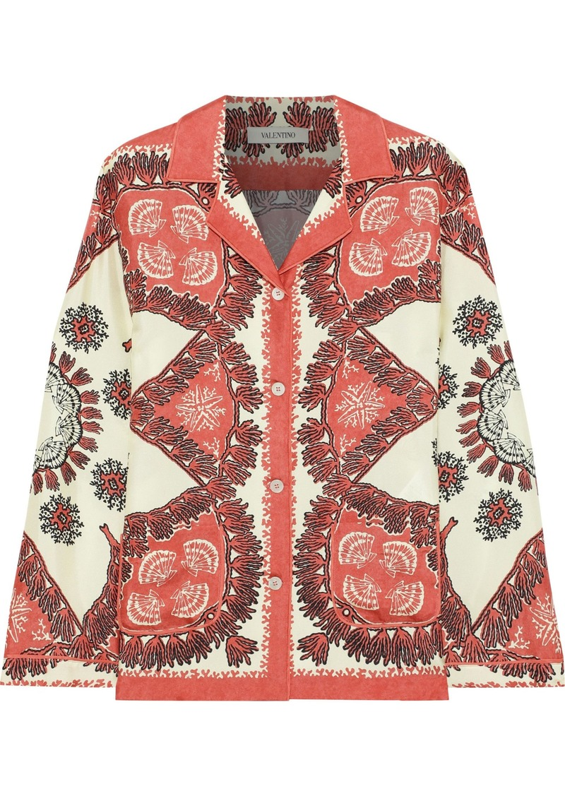 Valentino Woman Printed Silk-twill Shirt Papaya