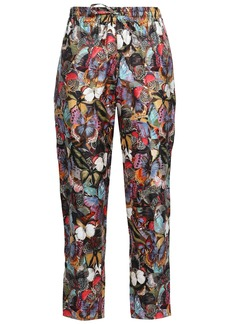 Valentino Woman Printed Silk-twill Tapered Pants Multicolor