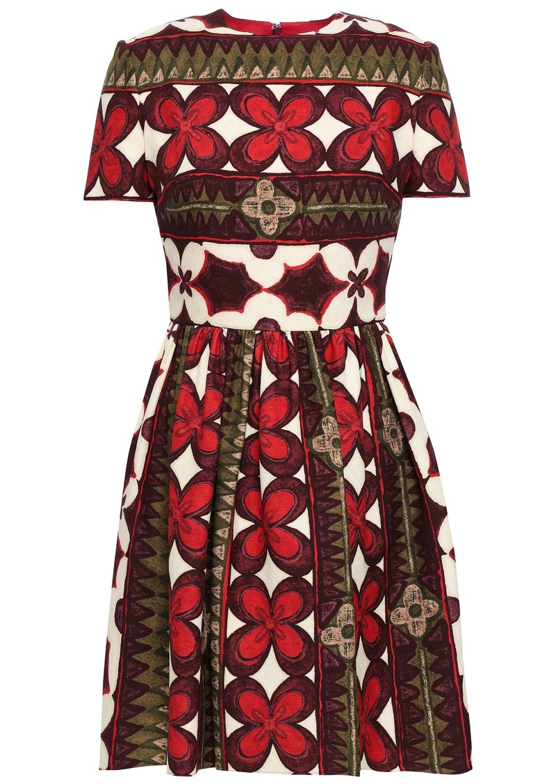 Valentino Woman Printed Wool And Silk-blend Mini Dress Crimson