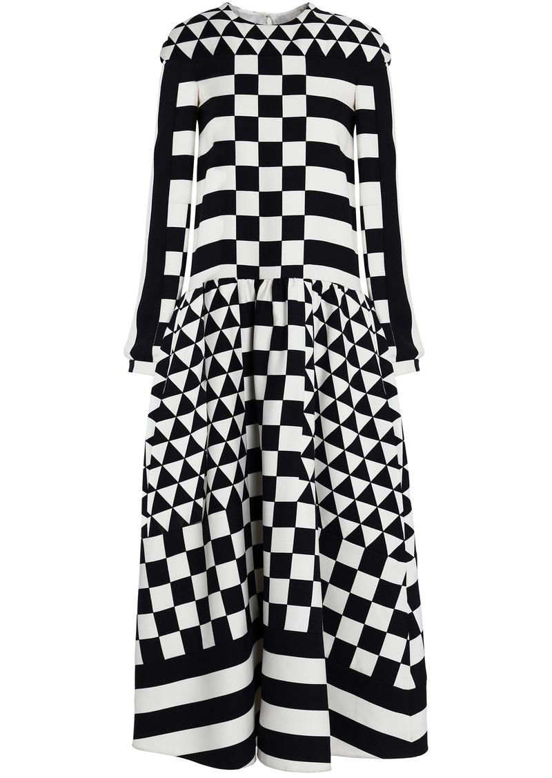 Valentino Woman Printed Wool And Silk-blend Twill Midi Dress Black