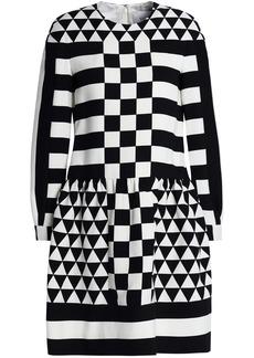 Valentino Woman Printed Wool And Silk-blend Twill Mini Dress Black