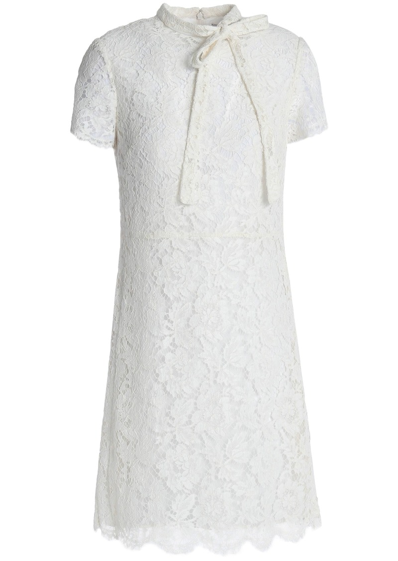 Valentino Woman Pussy-bow Cotton-blend Corded Lace Mini Dress Ivory