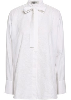 Valentino Woman Pussy-bow Lace-appliquéd Cotton Oxford Blouse White