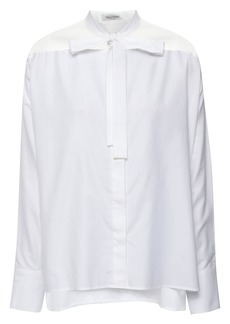 Valentino Woman Pussy-bow Organza-paneled Cotton-poplin Shirt White