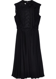 Valentino Woman Pussy-bow Paneled Silk Crepe De Chine Dress Black