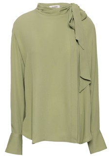 Valentino Woman Pussy-bow Silk-crepe Blouse Sage Green