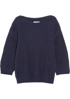 Valentino Woman Ribbed Cotton Sweater Midnight Blue