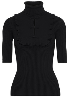 Valentino Woman Ruffle-trimmed Cutout Ribbed-knit Turtleneck Top Black