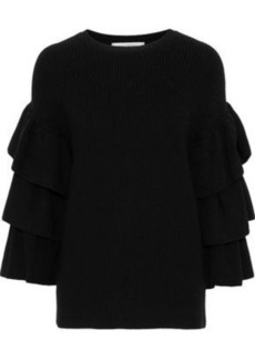 Valentino Woman Ruffle-trimmed Wool Sweater Black