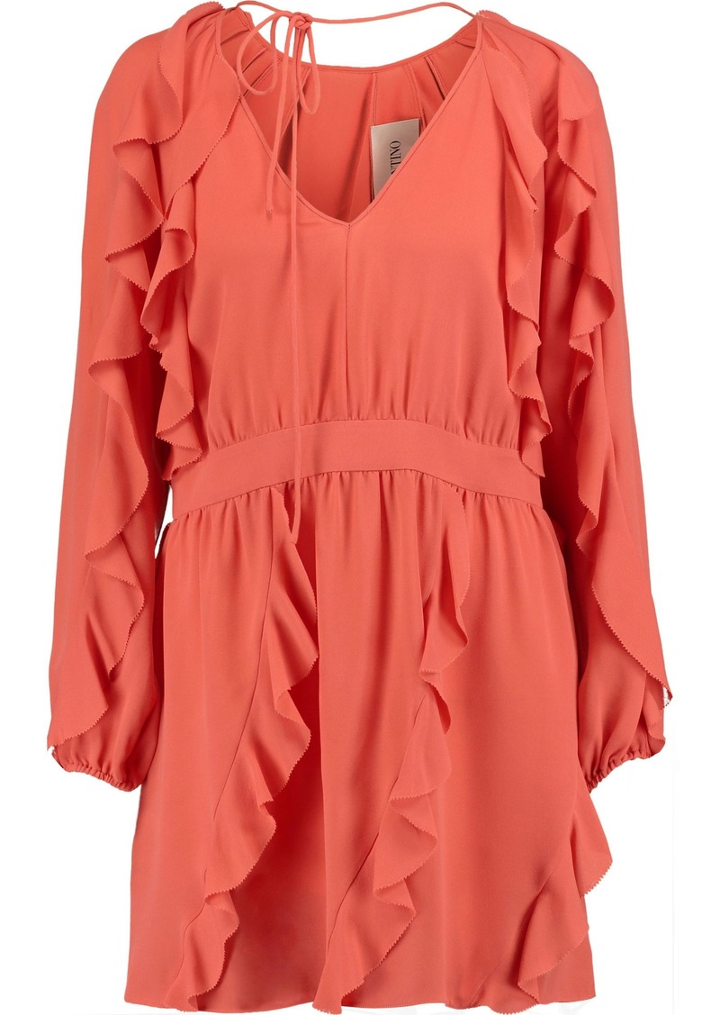 Valentino Woman Ruffled Silk-crepe Mini Dress Coral