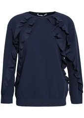 Valentino Woman Ruffled Stretch-knit Sweater Navy