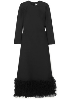 Valentino Woman Ruffled Tulle-trimmed Wool And Silk-blend Crepe Maxi Dress Black