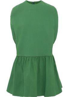 Valentino Woman Ruffled Wool And Silk-blend Mini Dress Green