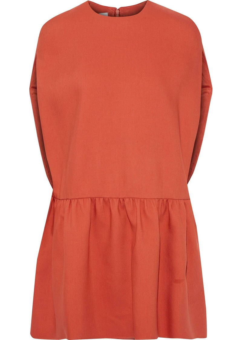 Valentino Woman Ruffled Wool And Silk-blend Mini Dress Papaya