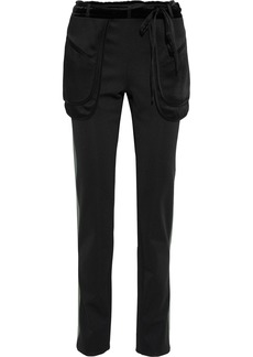 Valentino Woman Satin-trimmed Ponte Slim-leg Pants Black