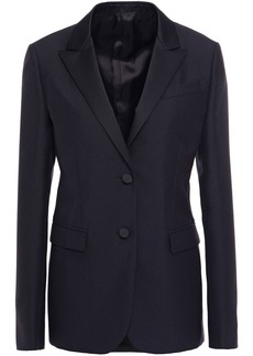Valentino Woman Satin-trimmed Wool And Mohair-blend Blazer Midnight Blue