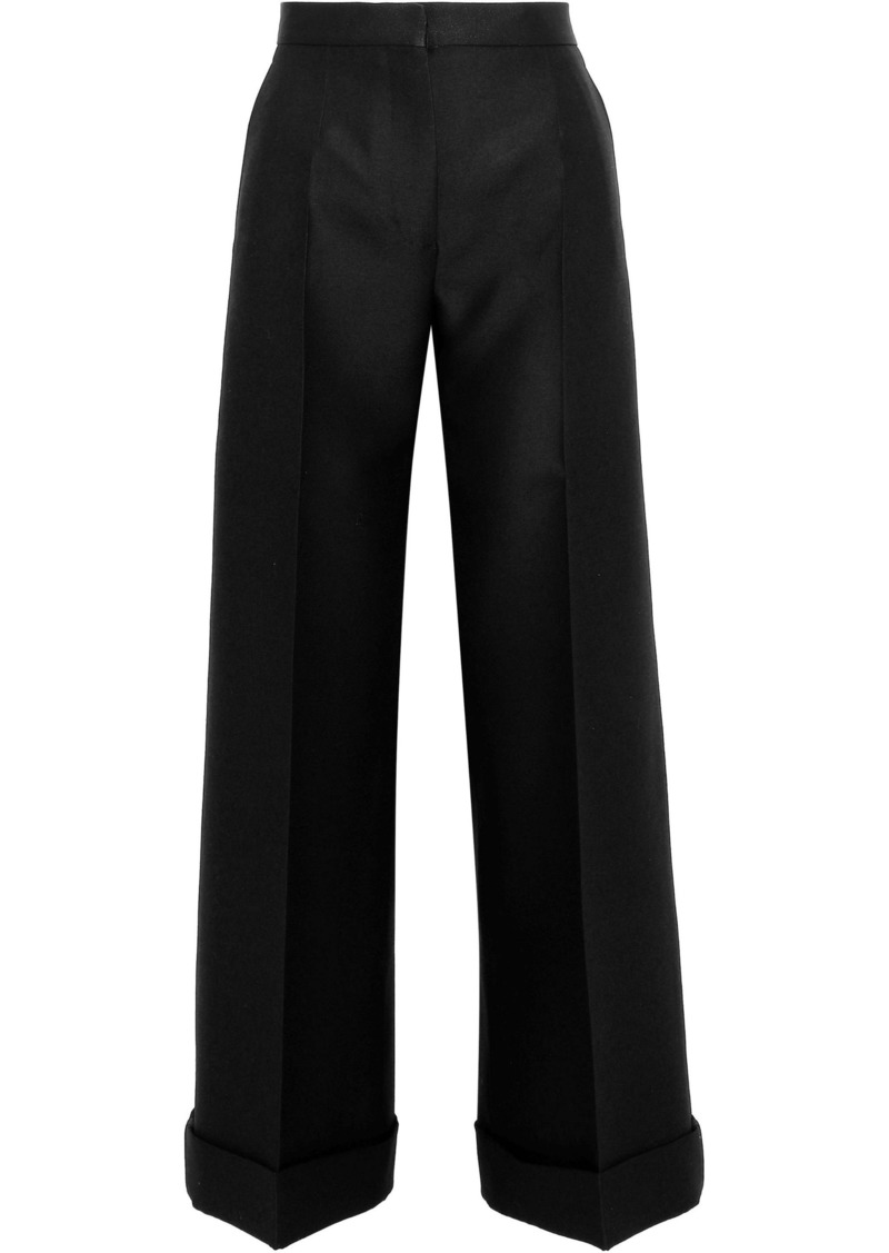 Valentino Woman Satin-trimmed Wool And Silk-blend Wide-leg Pants Black