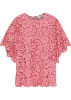 Valentino Woman Scalloped Cotton-blend Corded Lace Blouse Pink