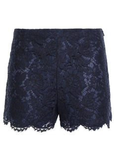 Valentino Woman Scalloped Cotton-blend Corded Lace Shorts Indigo