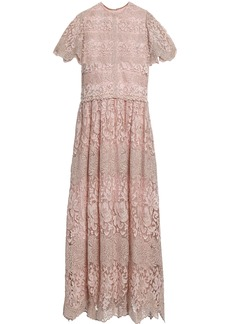 Valentino Woman Scalloped Metallic Embroidered Tulle Midi Dress Neutral