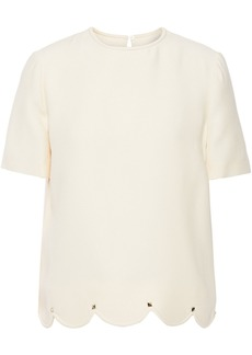 Valentino Woman Scalloped Studded Wool And Silk-blend Crepe Top Cream