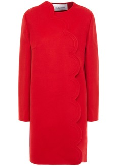 Valentino Woman Scalloped Wool And Cashmere-blend Felt Coat Red