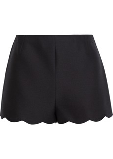 Valentino Woman Scalloped Wool And Silk-blend Crepe Shorts Black