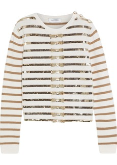 Valentino Woman Sequin-embellished Striped Cashmere Sweater Ivory