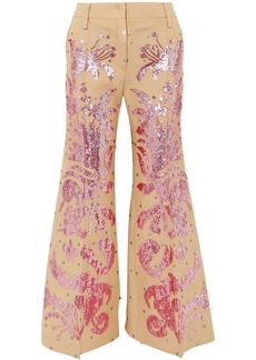 Valentino Woman Sequin-embellished Wool And Silk-blend Flared Pants Beige