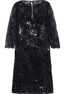 Valentino Woman Sequined Chantilly Lace Dress Black