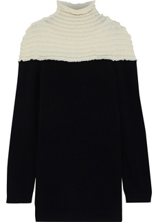 Valentino Woman Shirred Two-tone Wool And Cashmere-blend Sweater Black