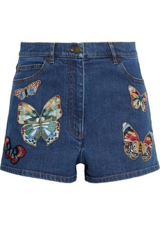 Valentino Woman Appliquéd Denim Shorts Mid Denim