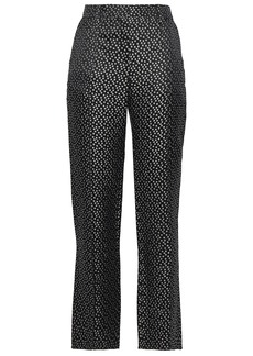 Valentino Woman Silk-jacquard Straight-leg Pants Black