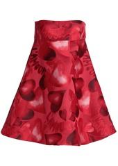 Valentino Woman Strapless Flared Jacquard Mini Dress Red