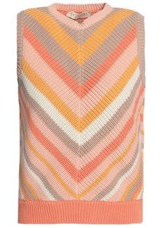 Valentino Woman Striped Cotton Vest Pastel Orange