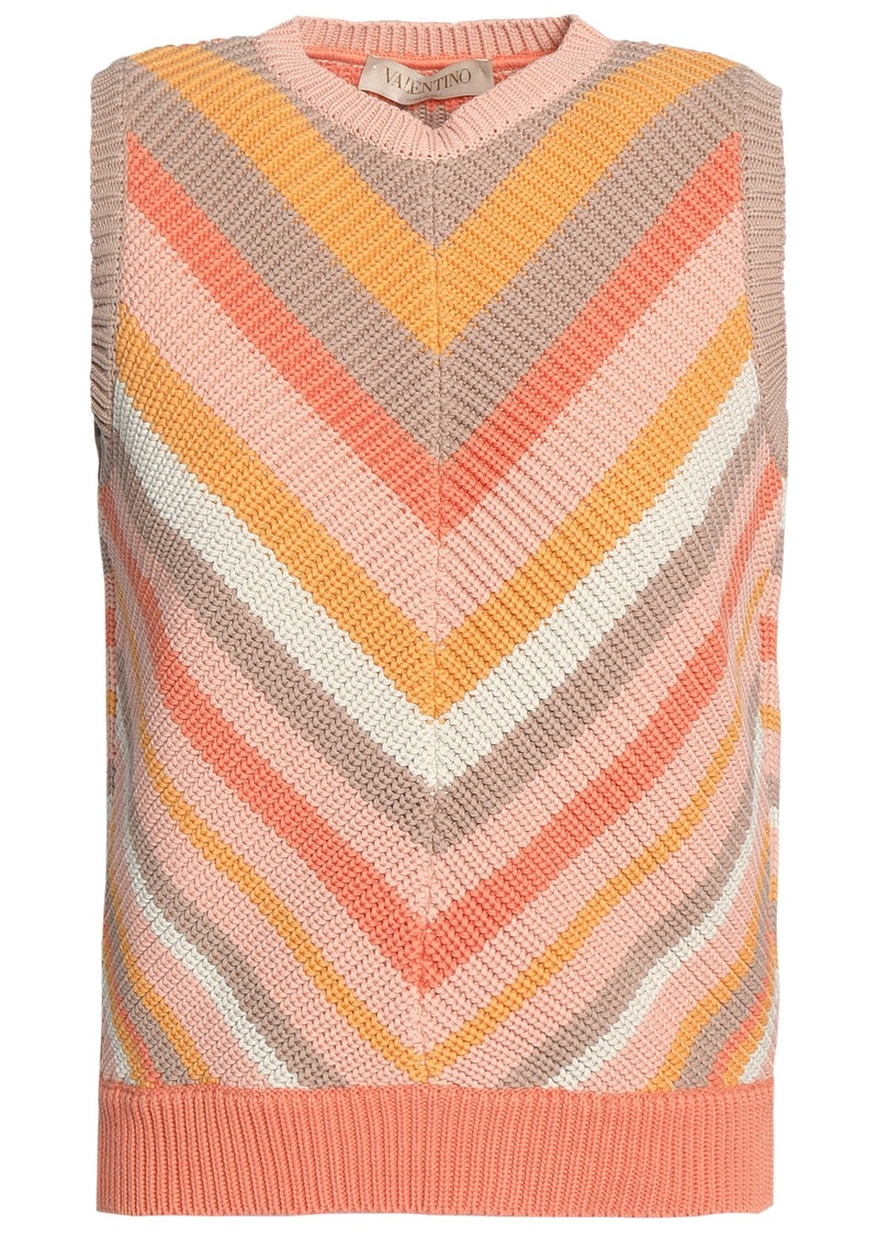 Valentino Woman Striped Cotton Vest Pastel Orange