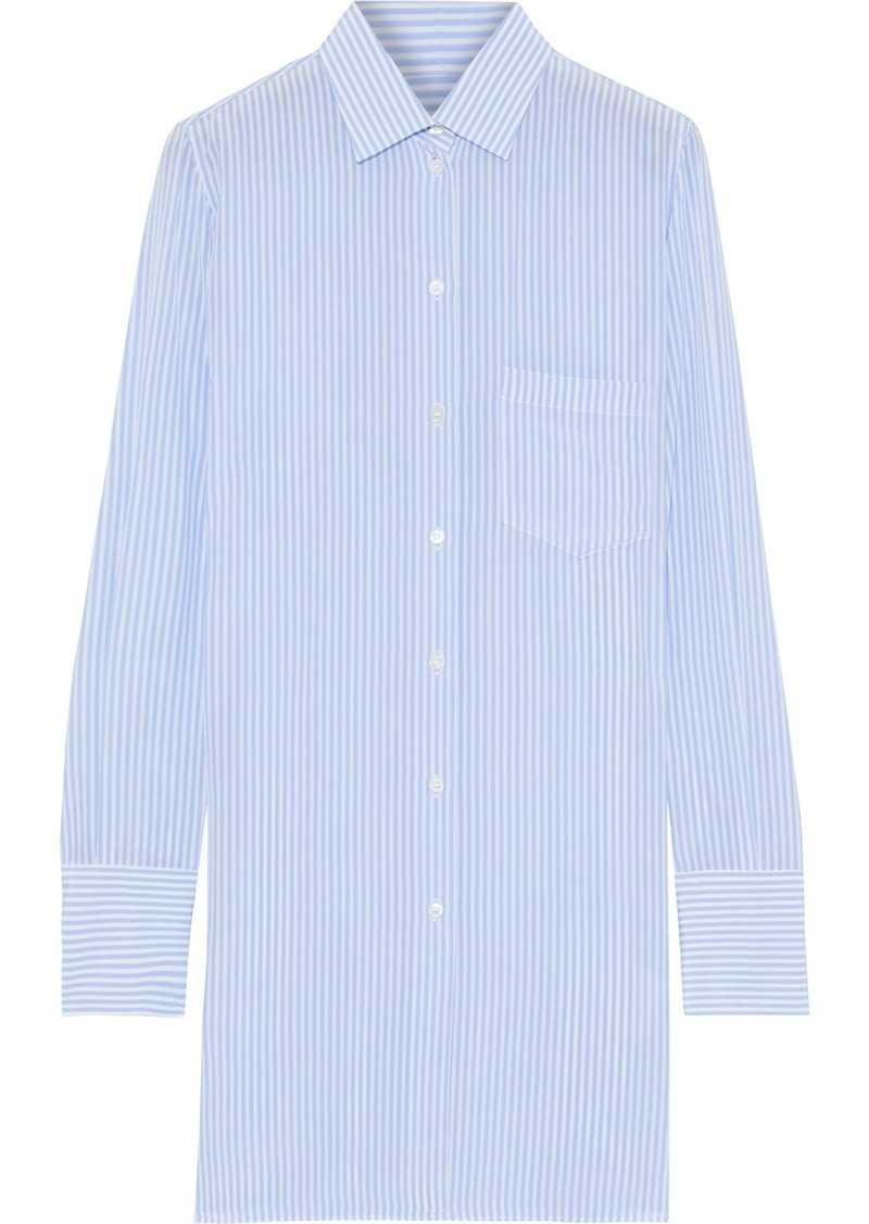 Valentino Woman Striped Silk Shirt Light Blue