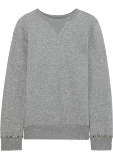 Valentino Woman Stud-embellished French Cotton-blend Terry Sweatshirt Gray