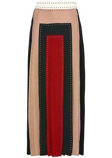 Valentino Woman Studded Color-block Silk Crepe De Chine Maxi Skirt Multicolor