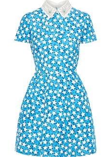 Valentino Woman Studded Leather-trimmed Printed Wool And Silk-blend Mini Dress Azure