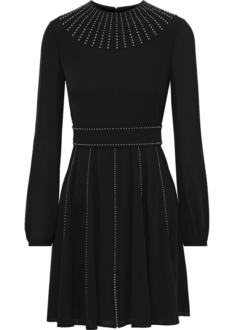 Valentino Woman Studded Silk-georgette Mini Dress Black
