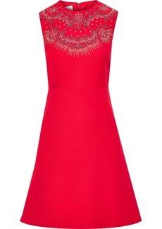 Valentino Woman Studded Wool And Silk-blend Mini Dress Red