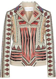 Valentino Woman Suede-appliquéd Bead-embellished Wool And Cashmere-blend Jacket Beige